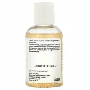 Natural Factors, WomenSense, кокосовое масло с эфирным маслом розовой герани и ванили, 4 унции (115 мл)