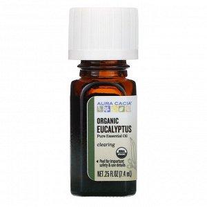 Aura Cacia, чистое эфирное масло, органический эвкалипт, 7,4 мл (0,25 жидк. унции)