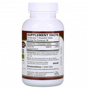 Terry Naturally, жевательные таблетки с витамином D3, ягодная смесь, 5000 МЕ, 90 жевательных таблеток
