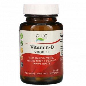 Pure Essence, витамин D, 2000 МЕ, 30 вегитарианских капсул