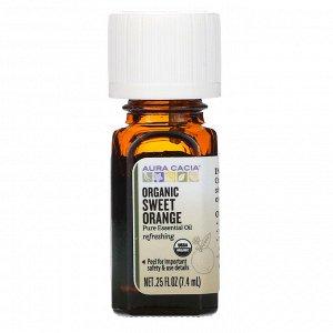 Aura Cacia, чистое эфирное масло, органический сладкий апельсин 7,4 мл (0,25 жидкой унции)