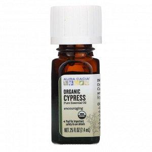 Aura Cacia, чистое эфирное масло, органический кипарис, 7,4 мл (0,25 жидк. унции)