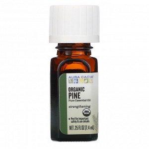 Aura Cacia, чистое эфирное масло, органическое сосновое масло, 7,4 мл (0,25 жидк. унции)