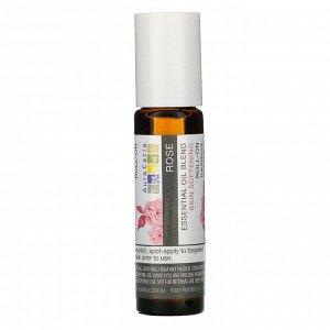 Aura Cacia, Смесь эфирного масла, смягчающий кожу роликовый аппликатор, роза, 0,31 жидкие унции (9,2 мл)