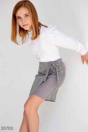 Строгая серая юбка на запах