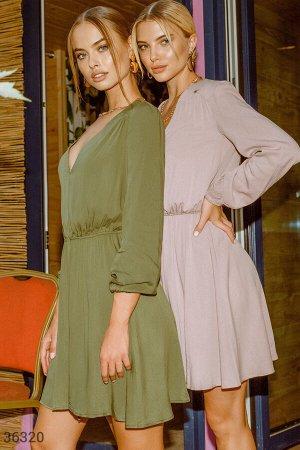 Воздушное платье цвета хаки