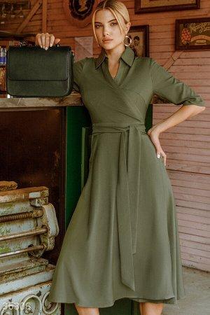 Платье цвета хаки с отложным воротником