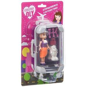 Набор игровой Bondibon куколка «OLY» с домашним питомцем и аксессуары, фиолетовый чемодан, BLISTER