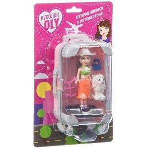 Набор игровой Bondibon куколка «OLY» с домашним питомцем и аксессуары, розовый чемодан, BLISTER
