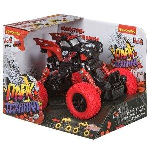 """Инерц.(Pull back) пласт. джип 4WD на пружинной подвеске, Bondibon """"Парк Техники"""", цвет чёрно-красный"""