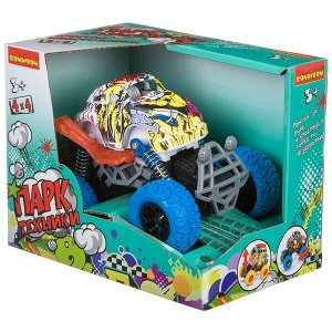 "Инерц. метал. джип 4WD на пружинной подвеске, Bondibon ""Парк Техники"", цвет синий с граффити, арт.07"