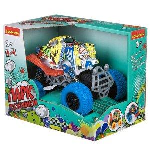 """Инерц. метал. джип 4WD на пружинной подвеске, со светом и звуком, Bondibon """"Парк Техники"""", цвет сини"""