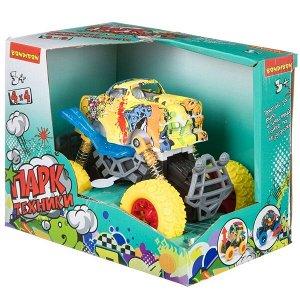 """Инерц. метал. джип 4WD на пружинной подвеске, со светом и звуком, Bondibon """"Парк Техники"""", цвет жёлт"""