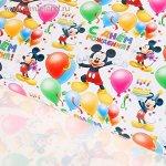 Бумага глянцевая С Днем рождения Микки Маус 70 х 100 см