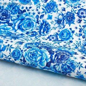Бумага глянцевая Цветы в стиле гжель 70 х 100 см