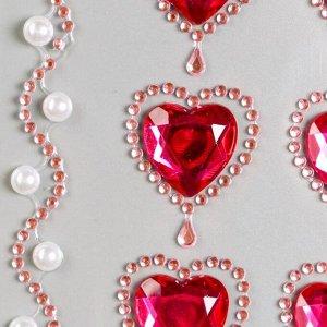"Стразы самоклеящиеся ""Пурпурные сердца"", 8-22 мм, 18 страз + 2 ленты"