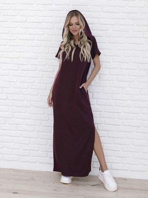 Бордовое трикотажное длинное платье с капюшоном