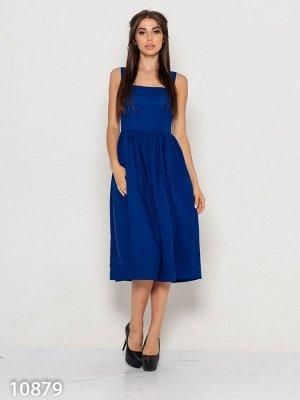 Синий льняной приталенный сарафан миди длины