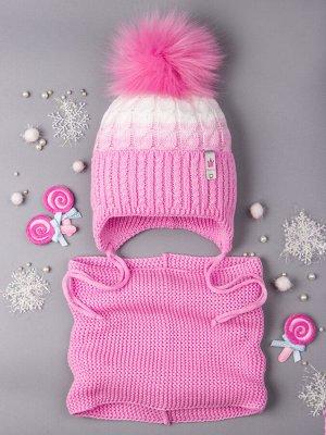 Шапка вязаная для девочки с помпоном на завязках, двухцветная, нашивка корона + снуд, светло-розовый