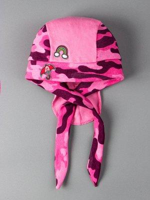 Бандана трикотажная, нашивка сбоку радуга и зонтик, розовая