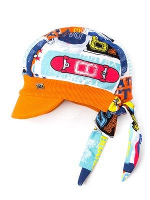 Бандана трикотажная для мальчика с козырьком на завязках, нашивка R, космос, оранжевый