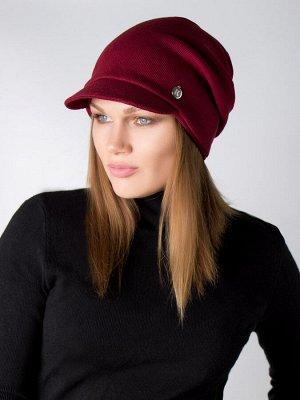 Шапка женская с козырьком, кашкорсе, круглая нашивка, бордовый