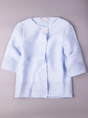 Кардиган вязаный для девочки на одной пуговице с люрексом, рукав 3/4, голубой