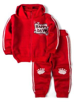 Кофта вязаная для девочки с капюшоном на молнии + штаны, happy day, красный
