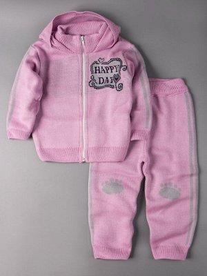 Кофта вязаная для девочки с капюшоном на молнии + штаны, happy day, светло-розовый