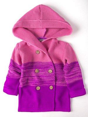 Кардиган вязаный для девочки с капюшоном на пуговицах, фиолетовый
