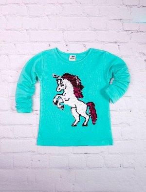Футболка для девочки с длинным рукавом, конь из пайеток, бирюзовый