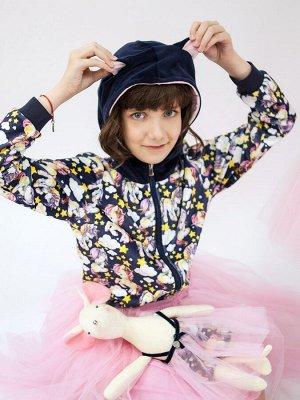 Кофта для девочки с капюшоном на молнии, премиум коллекция, темно-синий