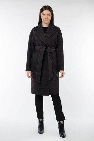 01-09821 Пальто женское демисезонное (пояс) валяная шерсть темно-серый
