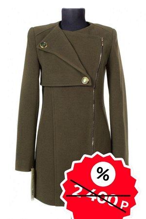 01-04093 Пальто женское демисезонное SALE Пальтовая ткань Темный хаки