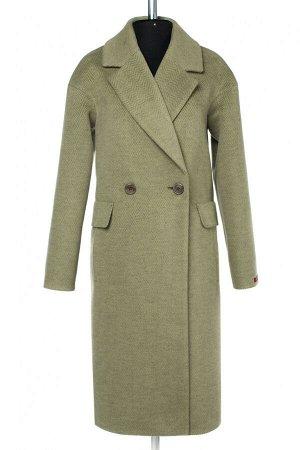 01-09866 Пальто женское демисезонное Микроворса хаки