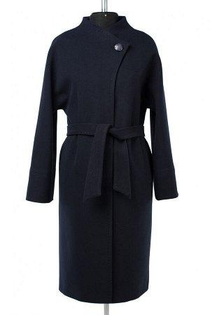 01-10000 Пальто женское демисезонное (пояс) Пальтовая ткань темно-синий