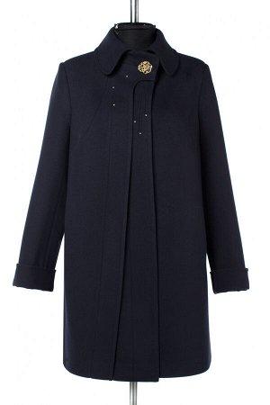 01-09804 Пальто женское демисезонное Пальтовая ткань темно-синий