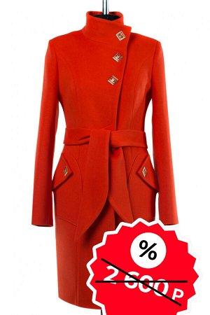 01-07264 Пальто женское демисезонное (пояс) SALE Кашемир оранжевый