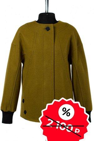 01-08940 Пальто женское демисезонное SALE валяная шерсть оливковый