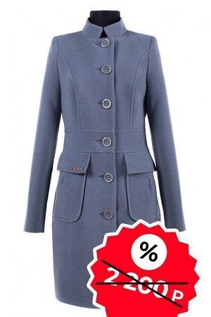 01-06417 Пальто женское демисезонное Пальтовая ткань серый