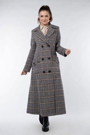 01-08709 Пальто женское демисезонное Твид/Клетка серо-оранжевый