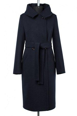 01-10064 Пальто женское демисезонное (пояс) Пальтовая ткань темно-синий
