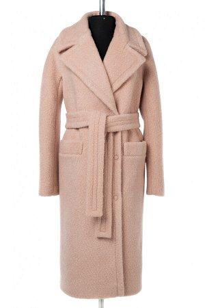 01-09983 Пальто женское демисезонное (пояс) вареная шерсть пудра