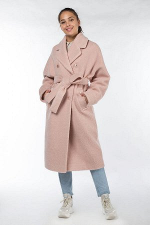 01-09846 Пальто женское демисезонное (пояс) вареная шерсть пудра