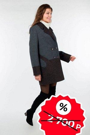 01-07322 Пальто женское демисезонное SALE валяная шерсть/трикотаж темно-серый