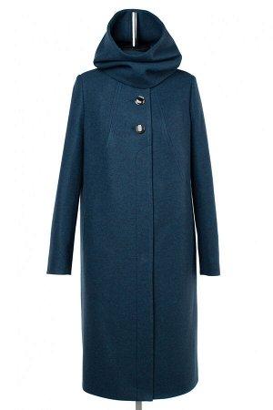 02-2953 Пальто женское утепленное валяная шерсть морская волна