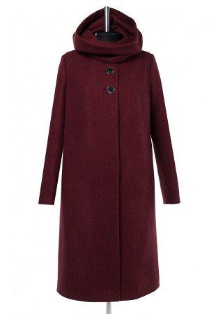 02-2945 Пальто женское утепленное валяная шерсть гранат