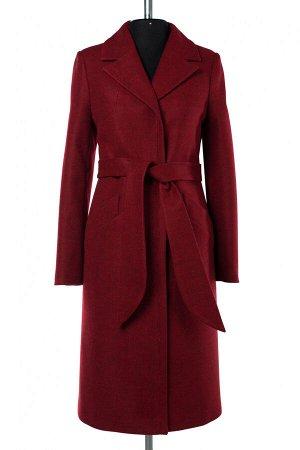 02-2942 Пальто женское утепленное (пояс) валяная шерсть красный меланж
