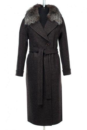 02-2908 Пальто женское утепленное (пояс) валяная шерсть темно-серый