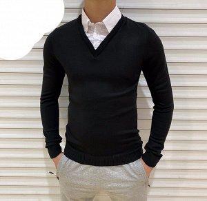 Джемпер с рубашкой-обманка